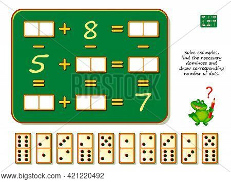 Mathematical Logic Puzzle Game. Solve Examples, Find The Necessary Dominoes And Draw Corresponding N