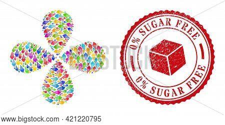 Icecream Multicolored Explosion Twist, And Red Round 0 Percent Sugar Free Grunge Stamp Imitation. Ic
