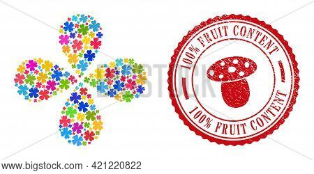 Lucky Clover Leaf Colorful Exploding Flower Shape, And Red Round 100 Percent Fruit Content Rubber St