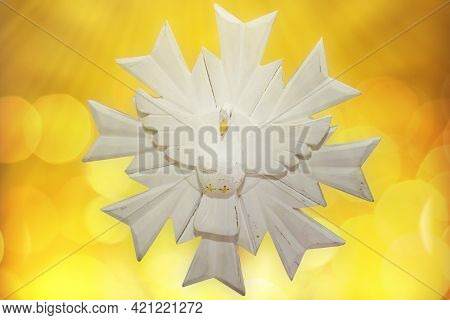 Pentecost, Representation Of The Holy Spirit On Bright Yellow Background