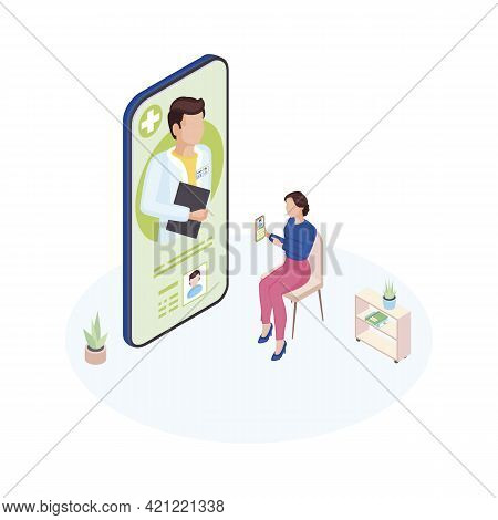 Doctor On Call Service Isometric Illustration. General Practitioner Consulting Mother Online. Remote