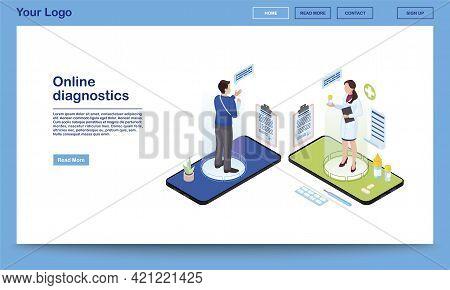 Online Diagnostics Service Isometric Website Template. Traumatologist Prescribing Medication, Painki