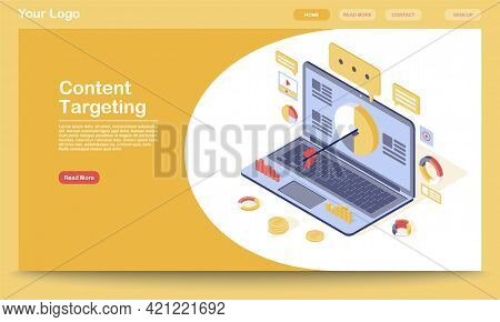 Targeting And Content Marketing Landing Page Template. Lead Generation, Audience Attraction Website