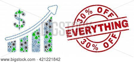 Winter Covid-2019 Mosaic Success Financial Chart, And Rubber 30 Percent Off Everything Red Round Sea