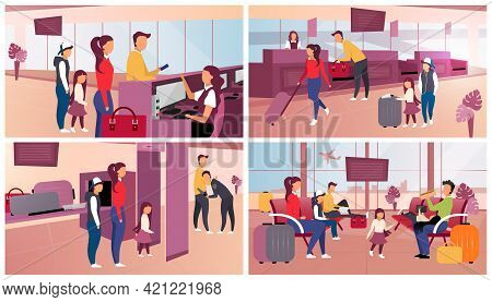 Airport Check In Flat Vector Illustrations Set. Passport And Security Control, Luggage Check. Touris