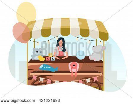 Vendor Selling Toys At Street Market Wooden Cart Flat Illustration. Retro Fair Store Stall On Wheels