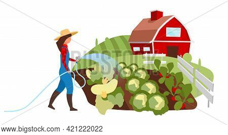 Vegetable Farming Flat Illustration. Female Farmer Watering Field, Garden With Hose Cartoon Characte