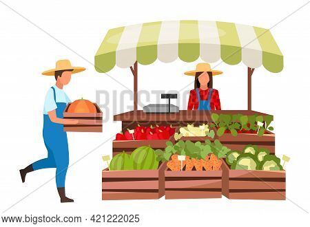 Farmers Market Flat Vector Illustration. Eco Products, Organic Produce Local Store. Market Stall Wit