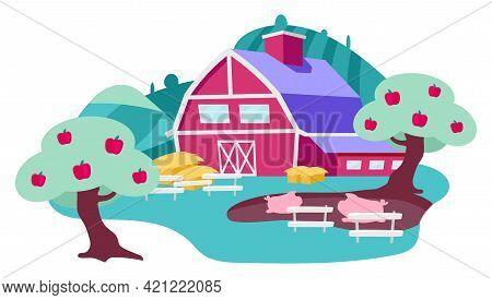Countryside Farm Backyard Flat Vector Illustration. Village Farmhouse, Apple Orchard And Pig Fence.