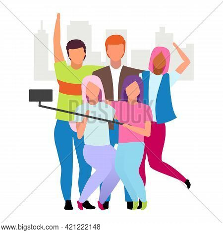 Friends Spending Time Together, Taking Selfie Flat Vector Illustration. Group Of People Making Photo