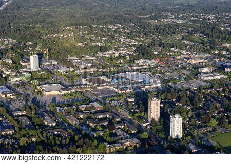 Surrey, British Columbia, Canada - May 16, 2021: Aerial View From Airplane Of Guildford Shopping Mal