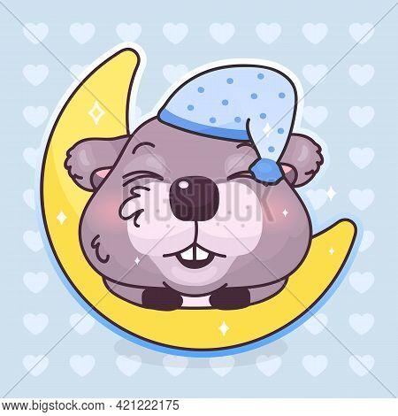 Cute Beaver Kawaii Cartoon Vector Character. Adorable And Funny Animal Sleeping, Dreaming On Moon Is