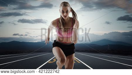 Professional Female Runner, Jogger On Road And Sky Background. Caucasian Fit Athlete Practicing, Tra