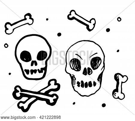 Retro Doodle Skull, Great Design For Any Purposes.vector Set Of Isolated Skull Heads And Bones With