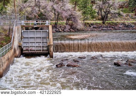 water diversion dam on the Cache la Poudre River in the canyon above Fort Collins, Colorado, with a  springtime flow