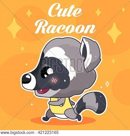Cute Raccoon Kawaii Character Social Media Post Mockup With Lettering. Positive Poster, Card Templat