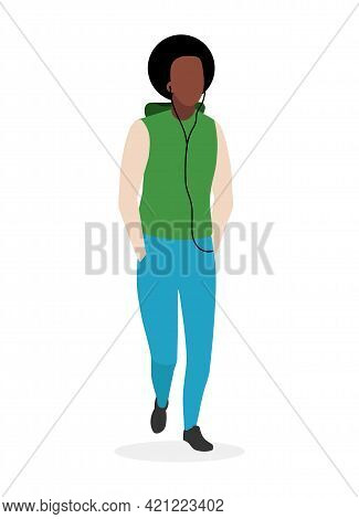 Afro American Guy Flat Vector Illustration. Black Man With Curly Hair Cartoon Character Isolated On