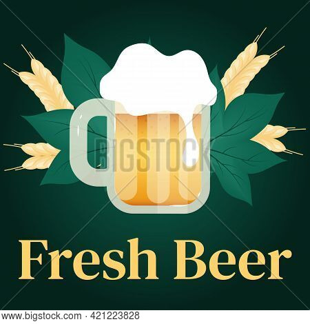 Fresh Beer Social Media Post Mockup. Cups Of Alcohol. Beer Festival. Oktoberfest. Advertising Web Ba