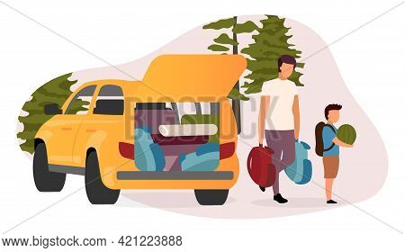 Family Road Trip Flat Vector Illustration. Cartoon Father And Son Carrying Backpacks, Watermelon. Ca