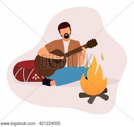 Man Playing Guitar Near Bonfire Flat Vector Illustration. Bearded Camper, Guitarist Sitting Near Cam