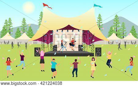 Summertime Music Festival Flat Vector Illustration. Open Air Live Performance. Rock, Pop Musician Co