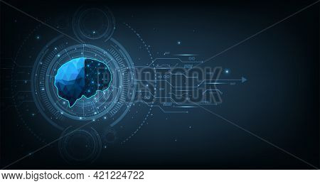 Graphic Of A Brain On Futuristic Background.innovation Technology Creative Thinking Vector Illutrati