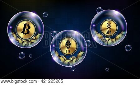 Abstract Background Of Futuristic Technology Bubble Glowing Cryptocurrency Bitcoin, Ethereum, Cardan