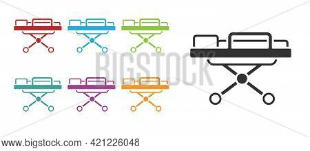 Black Stretcher Icon Isolated On White Background. Patient Hospital Medical Stretcher. Set Icons Col