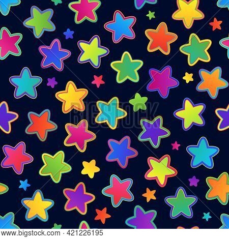 Universal Seamless Pattern Of Colorful Rainbow Stars On Dark Backdrop For Celebratory Packaging, Pac