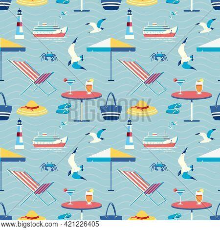 Seaside Holiday Leisure Seamless Vector Pattern. Beach Umbrella, Armchair, Cool Drinks Cartoon Icon.