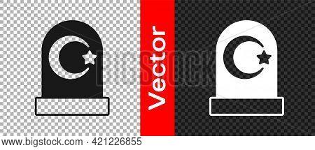 Black Muslim Cemetery Icon Isolated On Transparent Background. Islamic Gravestone. Vector