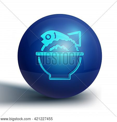 Blue Served Fish On A Bowl Icon Isolated On White Background. Blue Circle Button. Vector