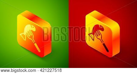 Isometric Served Fish On A Plate Icon Isolated On Green And Red Background. Square Button. Vector