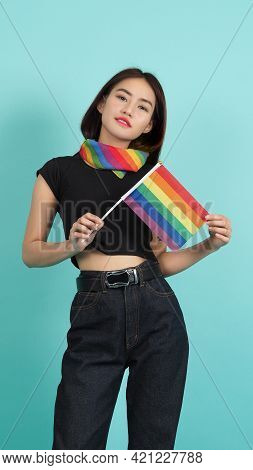 Lgbtq Girl And Pride Flag. Sexy Lesbian Girl And Lgbt Flag Standing.