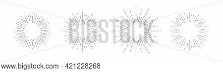 Light Rays Frames Set. Shine Burst Background. Radiant Spark. Vector Illustration. Sun Beam Ray Sunb