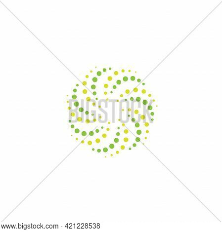Green Energy Round Logo Isolated On White. Circles And Dotes Abstract Shape. Creative Science, Tech