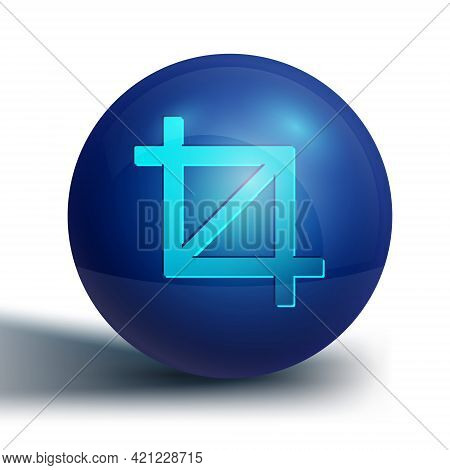 Blue Picture Crop Photo Icon Isolated On White Background. Blue Circle Button. Vector