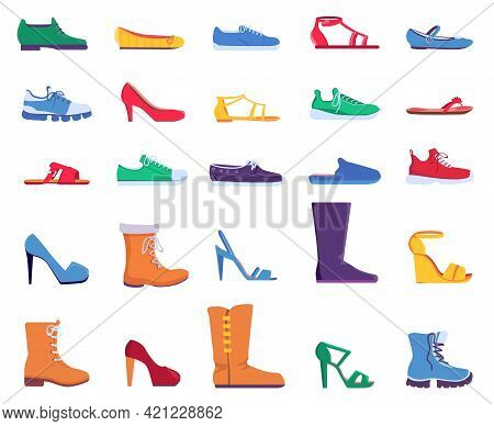 Flat Shoes. Fashion Footwear For Women And Men. Sneakers, Sandals, Ballets And Stiletto Heel Shoe. T