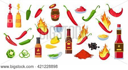 Cartoon Hot Sauce. Chili Ketchup Bottles And Jars, Wasabi And Mustard. Souce Splashes, Dip And Cayen