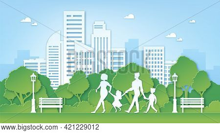 Paper Art Family In Park. Green City Environment With Trees. Parents And Kids Walk Outdoor. Paper Cu