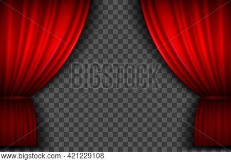 Red Curtains. Realistic Open Velvet Stage Curtain For Theatre Show, Circus Or Cinema. Portiere Drape