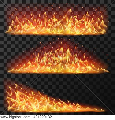 Realistic Long Fire. Horizontal Bright Flames And Flare Sparks For Burning Effect. Bonfire Blaze Ele