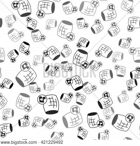 Black Voice Assistant Icon Isolated Seamless Pattern On White Background. Voice Control User Interfa
