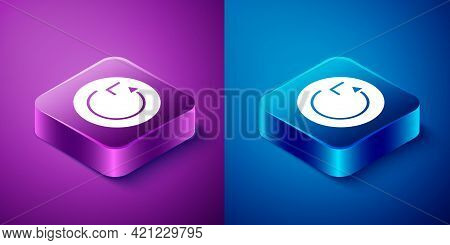 Isometric Radius Icon Isolated On Blue And Purple Background. Square Button. Vector
