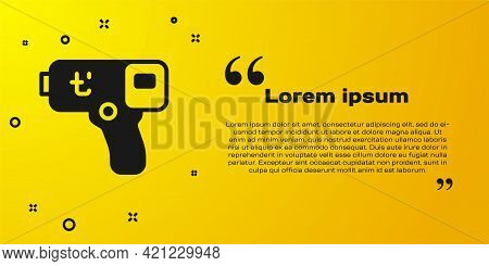 Black Digital Contactless Thermometer With Infrared Light Icon Isolated On Yellow Background. Vector