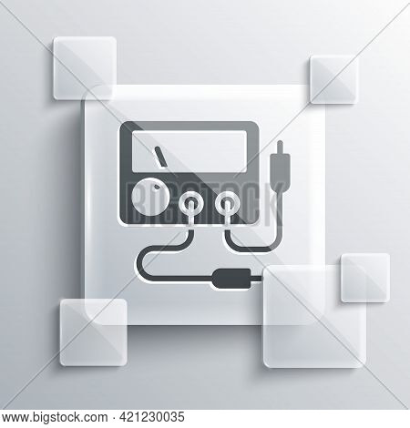 Grey Ampere Meter, Multimeter, Voltmeter Icon Isolated On Grey Background. Instruments For Measureme