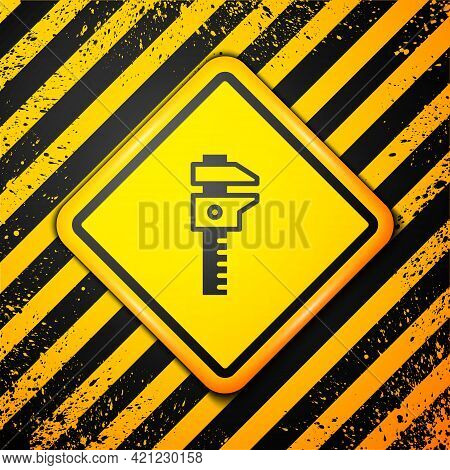 Black Calliper Or Caliper And Scale Icon Isolated On Yellow Background. Precision Measuring Tools. W