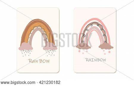 Scandinavian Rainbow Set For Decoration, Sets Of Bed-linen, Posters, Etc. Scandinavian Boho Vector R