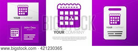 Logotype Calendar With Haircut Day Icon Isolated On White Background. Haircut Appointment Concept. L