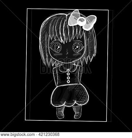 Sad Anime Girl. Girl Stands With A Cute Bow. Manga Anime Sketch